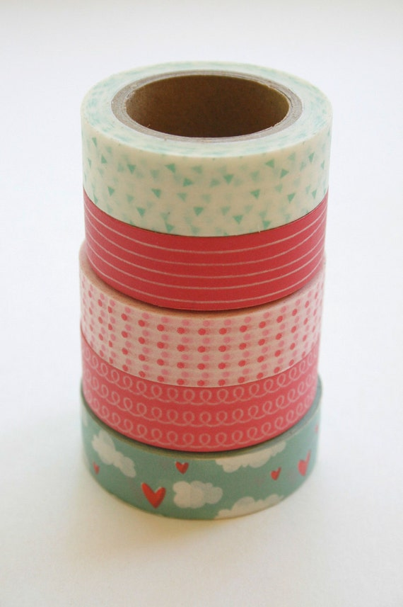 Washi Tape Set - 15mm - Combination CX - Pink and Aqua - Five Rolls Washi Tape No. 195 / 197 / 88 / 292 / 247