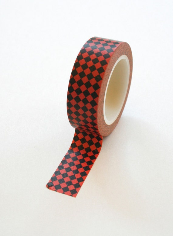 Washi Tape - 15mm - Red Harlequin on Black - Deco Paper Tape No. 278