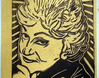 Golden Girls Postcard - Bea Arthur - Gold