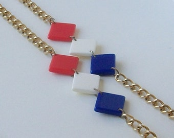 Vintage Red White Blue Necklace