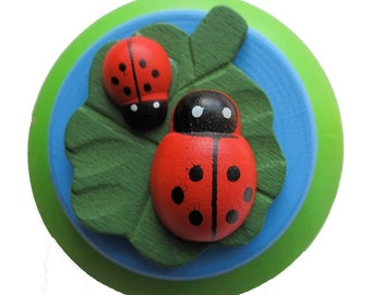 Ladybug Drawer Knobs - Dresser Knobs - Cabinet Knobs Hand painted (WK08)