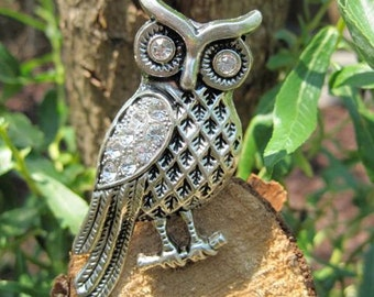 Owl with Crystal Wings drawer knob in Silver Metal (MK116)