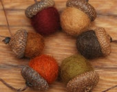 Wool Felted Acorn Ornaments, Set of 6 Fall colors, also available without hangers - StoneHouseCrafts