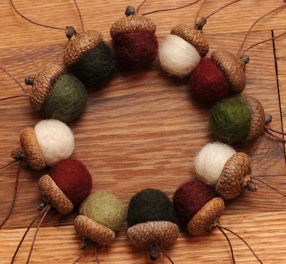 Felted Acorn Ornaments, Set of 12 Christmas colors