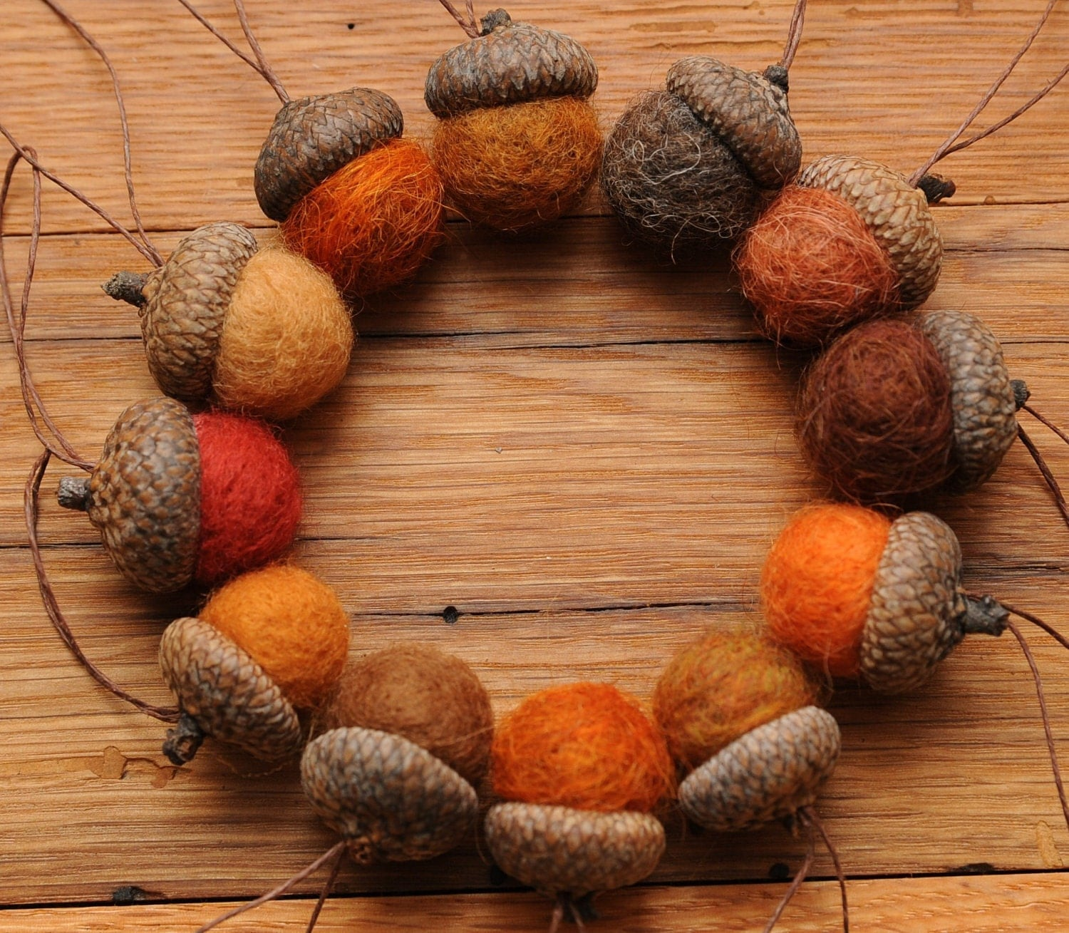 Orange felted wool acorns or acorn ornaments set of 12 for How to make acorn ornaments