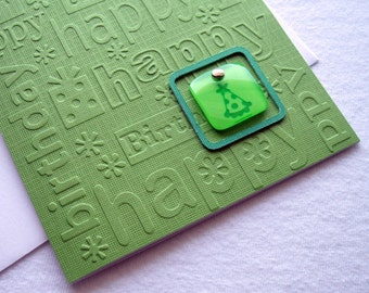 Green Embossed Birthday Card with a Party Hat