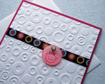 Embossed Welcome Baby Girl Card in White and Pink