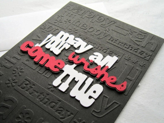 Embossed Birthday Card in Black, Red and White