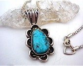 Vintage Turquoise Pendant on Sterling Chain