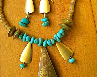 Tribal Petroglyph Necklace in Turquoise and Brass w Matching Dangle Earrings