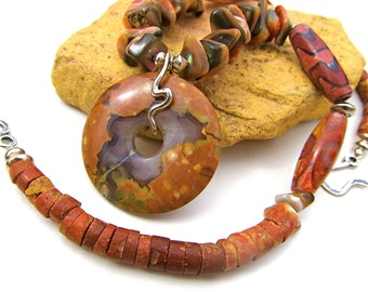 Sumptuous Tribal Necklace in Red Abalone, Ocean Jasper, and Sterling