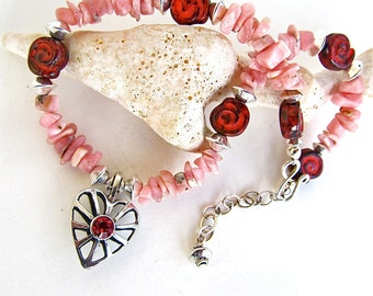 Divinity - Sterling Heart Anklet w. Red Crystal and Pink Rhodochrosite