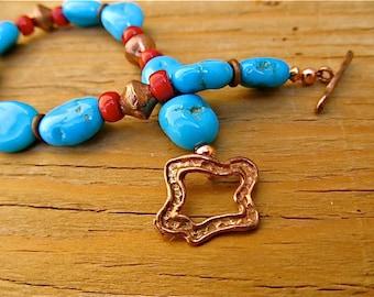 Southwestern Turquoise Nugget Bracelet and Earrings Set, Genuine Arizona Turquoise Bracelet