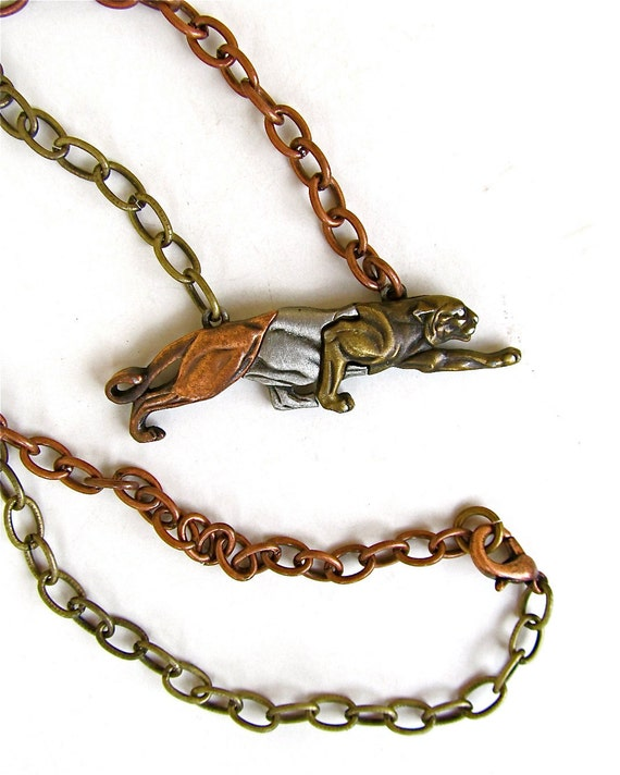 Vintage Cougar Pendant Necklace in Copper, Pewter, and Brass