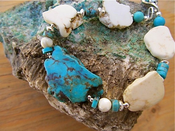 Rustic Southwestern Bracelet in Turquoise, Sterling, and Magnesite