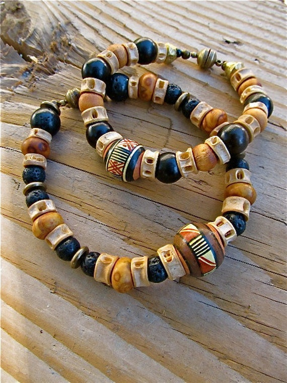 His and Hers Tribal Bracelets with African Beads