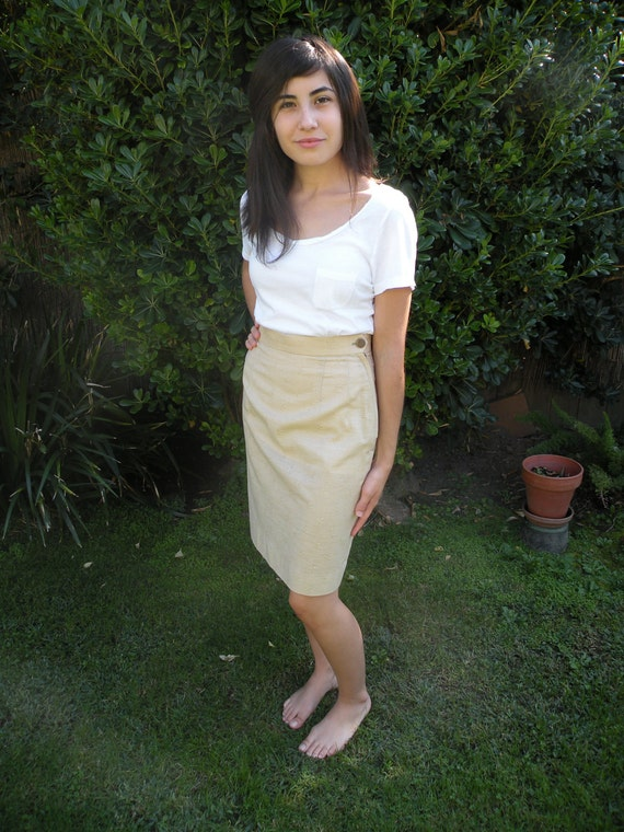 80s Vintage Beige High Waist Pencil Skirt (Extra Small)