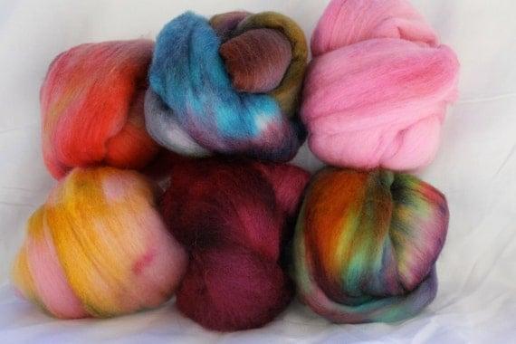 Colored six Fiber sampler. felting, spinning pack  4 .7 oz