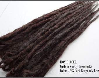 10 Dark Auburn Brown Synthetic dreads, synthetic dreadlock extensions, dreadlocks, dreads, synthetic dreadlocks, dreadlock extensions, dread