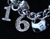 personalised/personalized sweet sixteen 16th birthday crystal rhinestone initial keyring