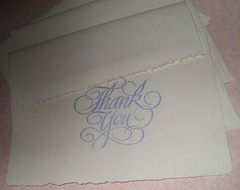 Elegant White Textured Deckle Edged Thank You Cards (10) - Wedding, Baby, Bridal, Graduation, Housewarming gift thank you cards