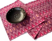 Ikat Table Runner, Reversible, 16 x 72, Pink
