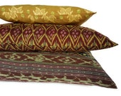 Ikat Pillows Set of 3, 16x24, 14x24, 12x18, Burgundy, Green, Yellow