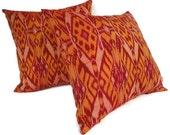 FREE GIFT  - Ikat Pillow, Orange, Red,  Pink