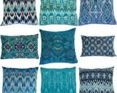 Ikat Pillows, Aqua, Teal, Turquoise, 16x16, 12x18, Set of 9