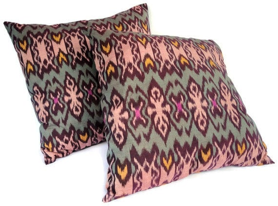 Ikat Pillows, Set of 2, 16x16, Green, Coral