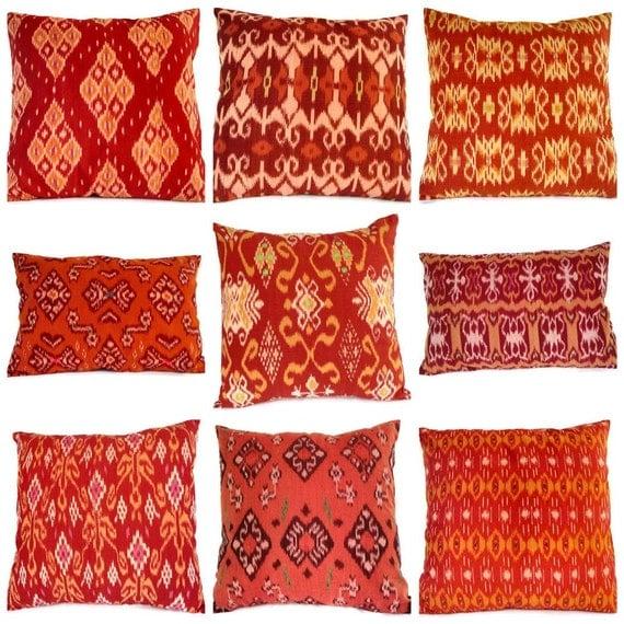 Ikat Pillows Set of 9, 16x16, 12x18, Orange