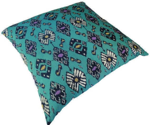 Ikat Floor Pillow 28x28 Turquoise