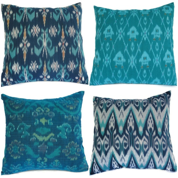 Ikat Pillow, Aqua,Teal, Turquoise, Set of 4, 16x16