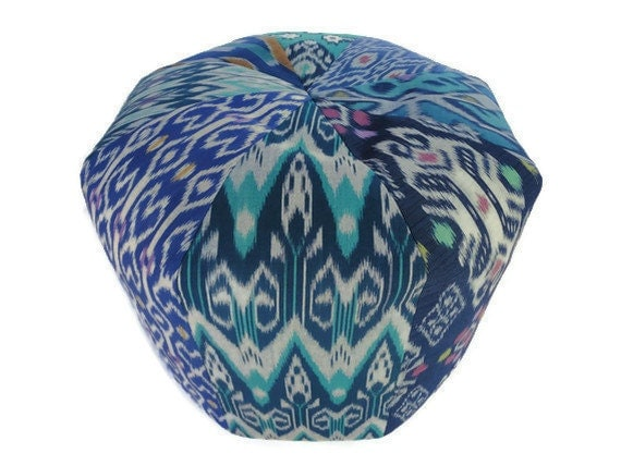 "18"" Pouf Bean Bag, Ikat Pillow, Multi Colors"