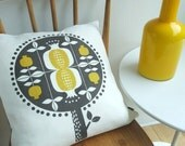 Pomegranate tree cushion in yellow on white linen