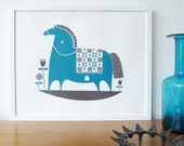 Rocking horse screenprint in teal and charcoal