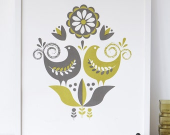 happybirds screenprint in grey and olive