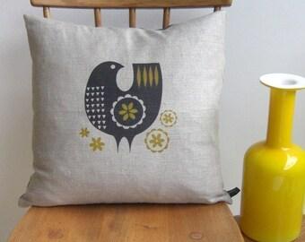Bird cushion in yellow