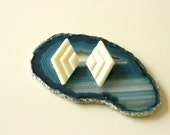 Summer Sale - Diamonds in Her Ears - White Diamond Shaped Geometric Post Earrings 1980s