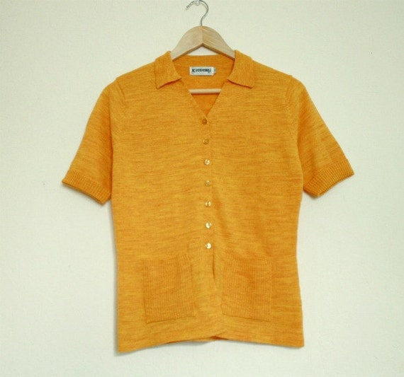 SUNNY SIDE UP Golden Yellow Button-Up Short Sleeve Knit Shirt S/M