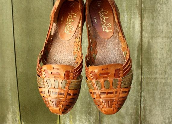 Woven Leather Huarache Sandals Flats Size 6