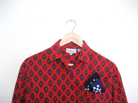 Red Print Long Sleeve Button Up Shirt S/M