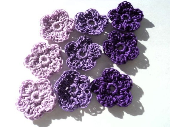 Lucious purple 5 petal crochet flowers for crafters