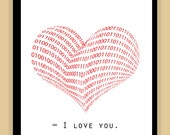 Binary Code I Love You Poster art print pop 8x10