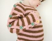Hand Knitted Children Sweater - Button UP Stripey pullover - seamless alpaca sweater - made to order