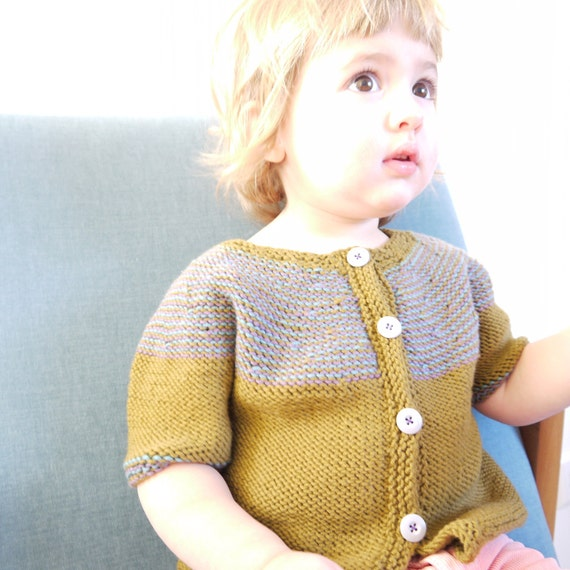 SALE - 30% off - was 83 AUD - Hand Knitted Children Sweater - Inside-Out Olive Cardigan - super soft - seamless design - OOAK