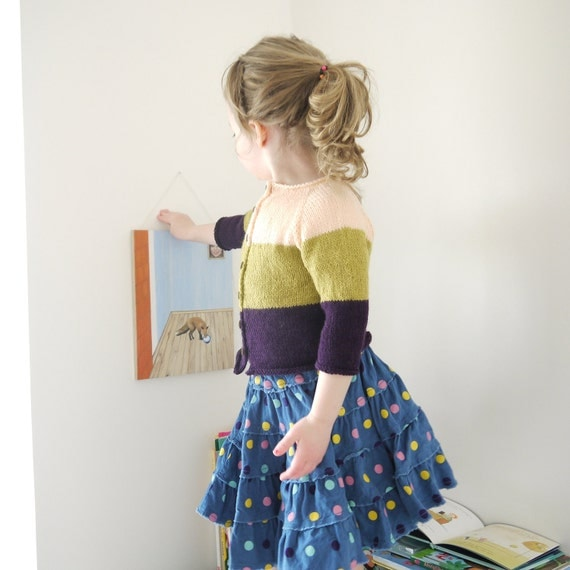 SALE - 30% off - was 90AUD - Hand Knitted Children Sweater - Oldschool Colour Block Cardigan - seamless design - size 2-3 yrs