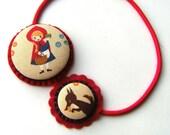Little Red Riding Hood Covered Button Felt Headband