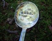 BASIL Hand Stamped Spoon Garden Marker