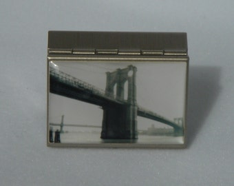 NYC Brooklyn Bridge Photograph PILL BOX by Laura Graham